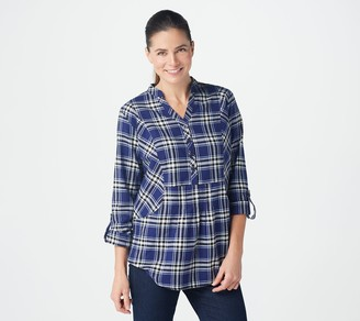 Joan Rivers Classics Collection Joan Rivers Long-Sleeve Pullover Plaid Shirt with Pockets