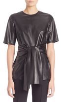 Escada Tie-Front Leather Blouse