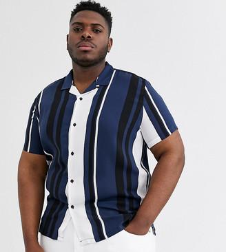 Topman Big & Tall shirt in blue & ecru stripe-Navy