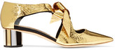 Proenza Schouler Cutout Mirrored-leather Pumps - Gold