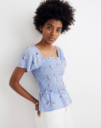 Madewell Smocked Flutter-Sleeve Top in Aloha Floral