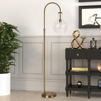 """clear Breakwater Bay Dayna 65"""" Arched Floor Lamp Breakwater Bay Base Finish: Brushed Brass, Shade Color"""