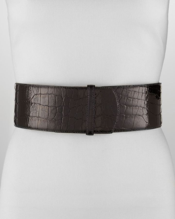 Oscar de la Renta Wide Alligator Belt, Black