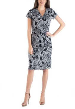 24seven Comfort Apparel Paisley Wrap over Style Midi Dress