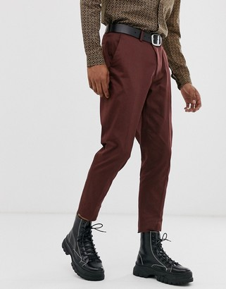 Asos Design DESIGN wedding skinny cotton suit trousers in burgundy-Red