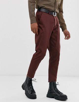 ASOS DESIGN wedding skinny cotton suit trousers in burgundy