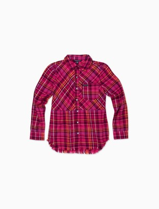 Calvin Klein Little Girls Plaid Frayed Flannel Shirt