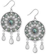 Lucky Brand Silver-Tone Blue & Clear Stone Circular Drop Earrings