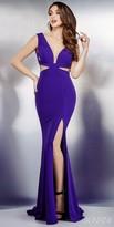 Jovani V-Neck Cutout Jersey Prom Dress