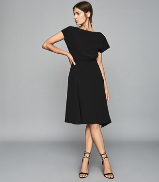Reiss Victoria - Capped Sleeve Midi Dress in Black