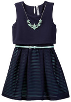 Beautees Belted Skater Dress with Necklace (Big Girls)