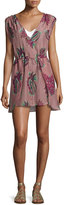 Vix Agata Feather-Print Short Coverup, Pink