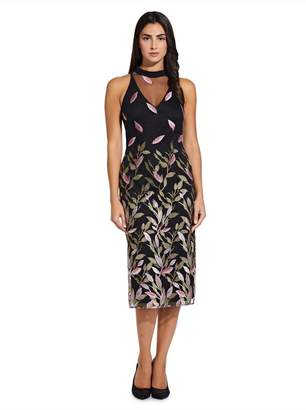 Adrianna Papell Womens Black Fluttering Leaves Sheath Dress - Black