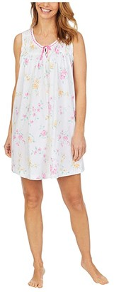 Carole Hochman Soft Jersey Sleeveless Short Gown (Pink/Print) Women's Pajama