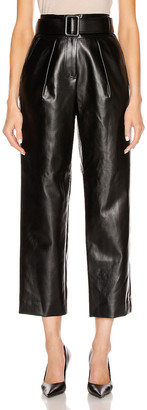 Self-Portrait Faux Leather High Waist Trouser Pant in Black | FWRD