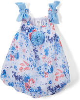 Baby Essentials Blue Floral Bow-Sleeve Bubble Romper - Infant