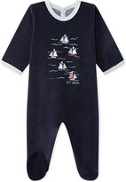 Petit Bateau Boat-embroidered velour sleepsuit 1-24 months