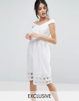 Elise Ryan Bardot Midi Dress With Check Mesh Skirt