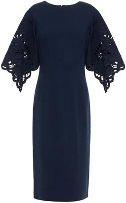 Oscar de la Renta Guipure Lace-paneled Wool-blend Crepe Midi Dress