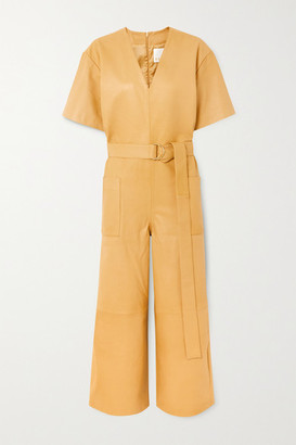 REMAIN Birger Christensen Dalmine Belted Leather Jumpsuit - Pastel yellow