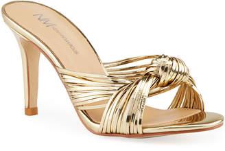 Neiman Marcus Malin Metallic Knotted Heel Slide Sandals