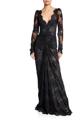 Monique Lhuillier Floral Lace Long-Sleeve Dress