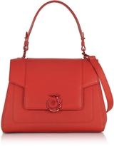 Trussardi Lovy Red Crepe Leather Satchel Bag