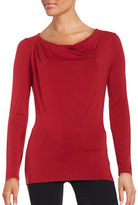 Lord & Taylor Iconic Fit Drape-Front Blouse