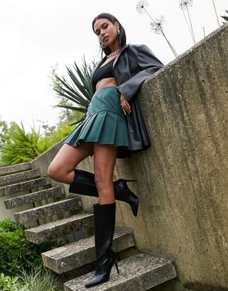 ASOS DESIGN pleated mini skirt in forest green