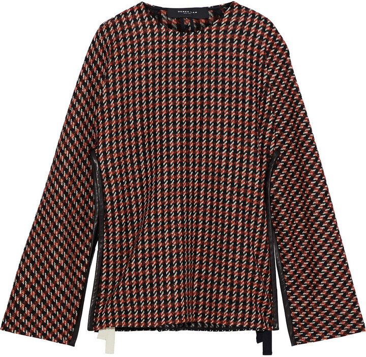 Derek Lam Leather-trimmed Checked Wool-blend Tweed Cape