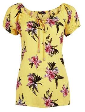 Dorothy Perkins Womens Yellow Floral Print Bardot Top, Yellow