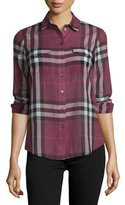 Burberry Long-Sleeve Check Shirt, Magenta