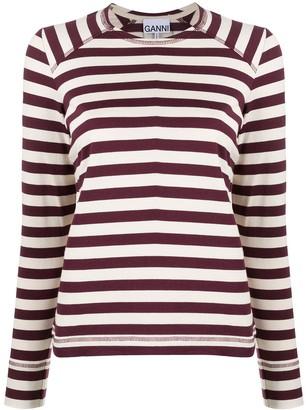Ganni Organic Cotton Striped Sweatshirt
