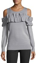 Neiman Marcus Ruffled Cold-Shoulder Sweater