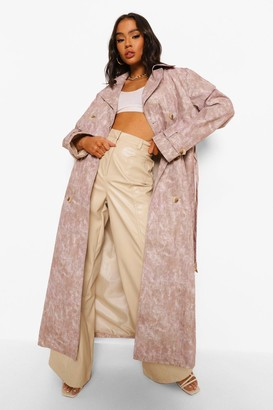 boohoo Woven Printed Tie Dye Trench Coat