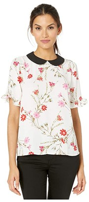 CeCe 3/4 Sleeve Enchanted Wildflower Collared Blouse (Soft Ecru) Women's Clothing