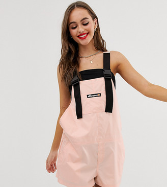 Ellesse recycled short overalls with buckle straps-Pink