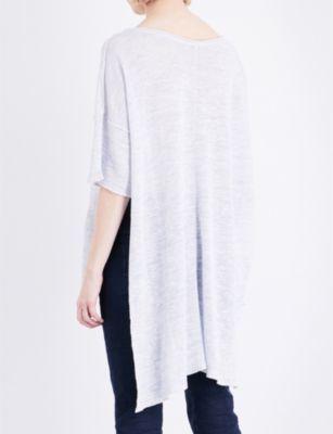 Free People Stepped-hem linen-blend top