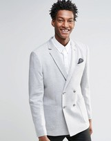 Asos Skinny Double Breasted Blazer In Jersey