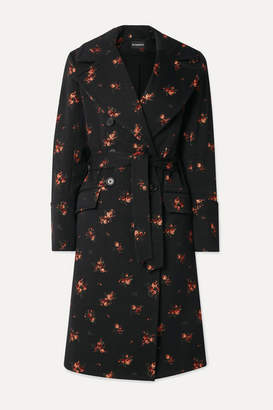 Ann Demeulemeester Double-breasted Cotton-blend Jacquard Coat - Black