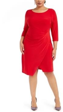 Taylor Plus Size Asymmetrical Draped Sheath Dress