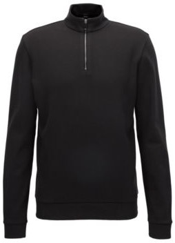 HUGO BOSS Zip Neck Sweatshirt In Mercerized Cotton - Black
