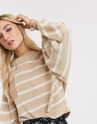Free People between the lines stripe lightweight jumper in neutral combo