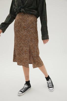 Dress Forum Animal Print Slit Midi Skirt