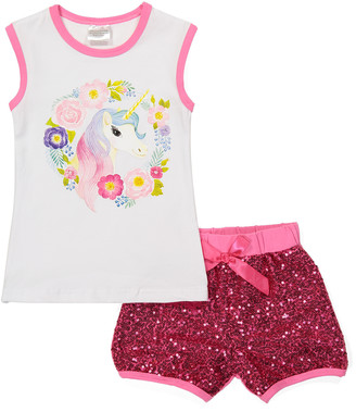 Royal Gem Girls' Casual Shorts Pink - White Floral Unicorn Tank & Pink Sequin Shorts - Newborn, Infant & Toddler