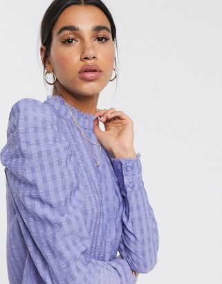 Vero Moda blouse with textured puff sleeve in blue