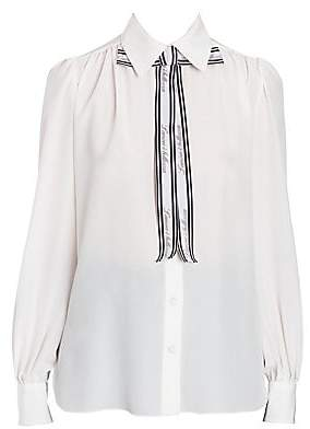 Dolce & Gabbana Women's Silk Tie Neck Blouse