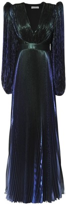 Givenchy Pleated Silk Blend Lame Long Dress