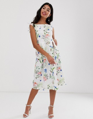 True Violet floral off shoulder skater dress