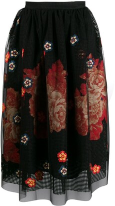 Biyan Floral Embroidered Midi Skirt